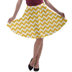 Sunny Yellow & White Zigzag Pattern A Line Skater Skirt