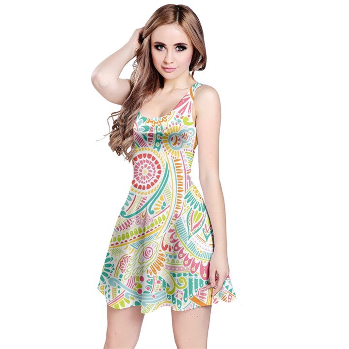 Hippie Flowers Pattern, Pink Blue Green, Zz0101 Reversible Sleeveless Dress