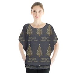 Merry Christmas Tree Typography Black And Gold Festive Blouse