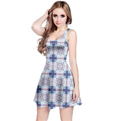 Blue Grid Tie Dye Reversible Sleeveless Dress