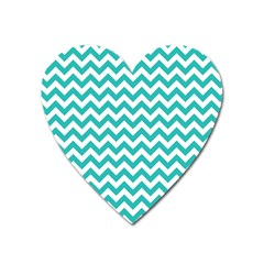 Turquoise & White Zigzag Pattern Magnet (heart)