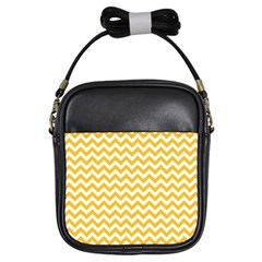 Sunny Yellow & White Zigzag Pattern Girls Sling Bag