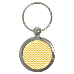 Sunny Yellow & White Zigzag Pattern Key Chain (round)