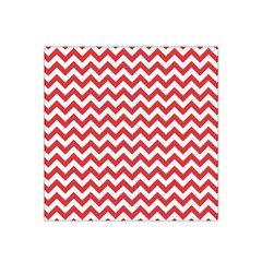 Poppy Red & White Zigzag Pattern Satin Bandana Scarf